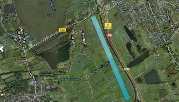 Optie roeibaan onder stad Groningen