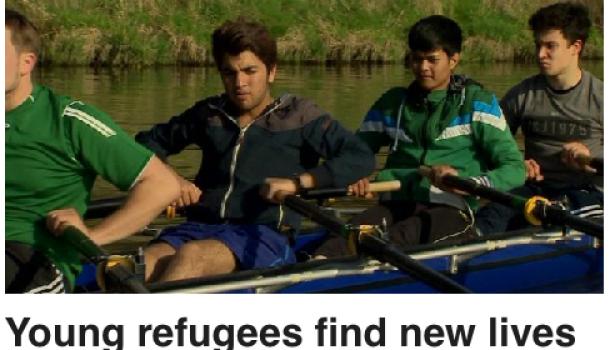 Vluchtelingen Midden-Oosten leren roeien in Duitsland