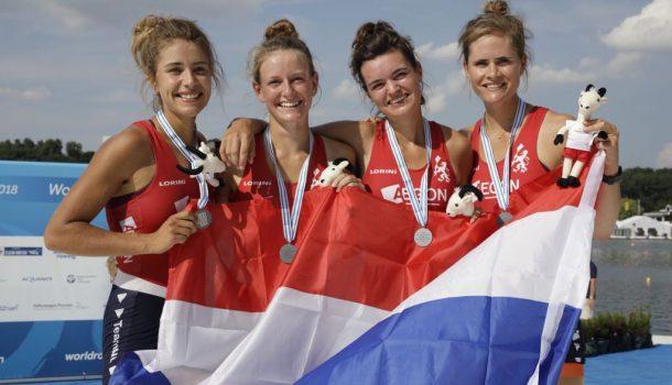WK onder 23: Lichte en zware vrouwendubbelvieren delven zilver