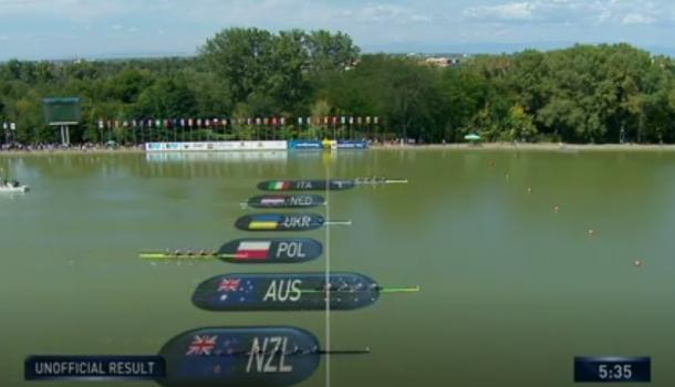WK18 mannen4x op bootlengte van goud, maar vijfde